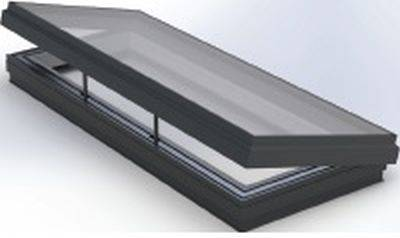 RG-80-20 24 V Hinged Flat Glass Rooflight