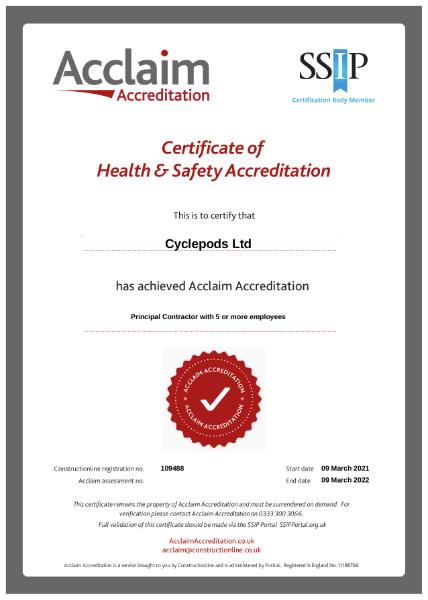 Acclaim SSIP Health & Safety Ceritification