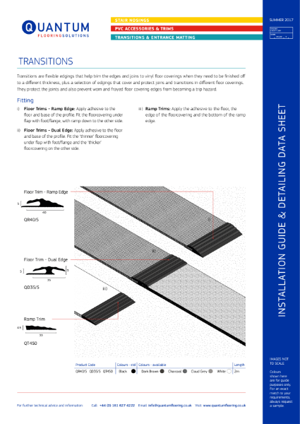 Installation Guide & Detailing Data Sheet for Flooring Transitions