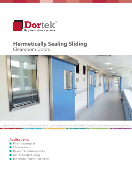 9.1. Dortek Hermetically Sealing Sliding Cleanroom Door