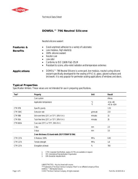 DOWSIL 796 PVC-U, Aluminum & Wood Silicone