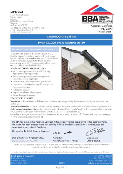 Swish cellular PVC-U roofline systems