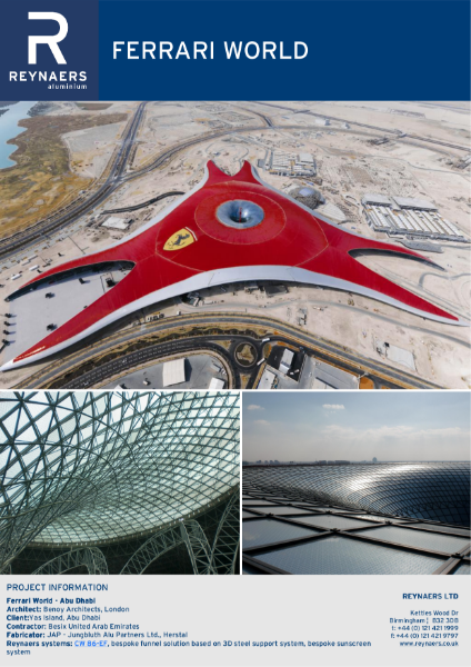 Case Study: Ferrari World, featuring CW 86 unitised curtain wall