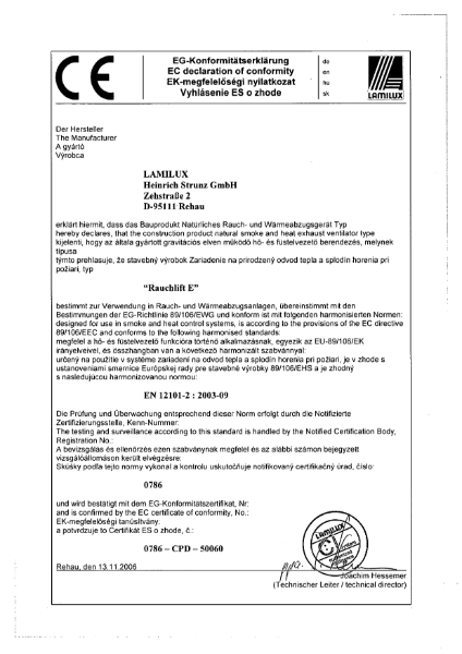 Smoke Vent Rooflight CE Marking (EN 12101-2) Certificate