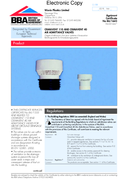 86/1643 OsmaVent 110 and OsmaVent 40 air admittance valves