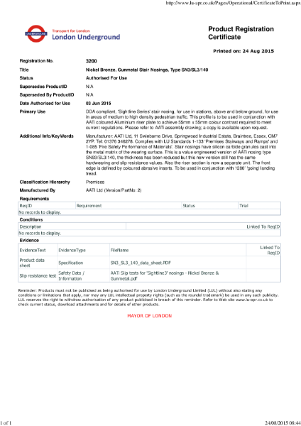 AATi certificate for product ref: SN3/SL3/140 value engineered product