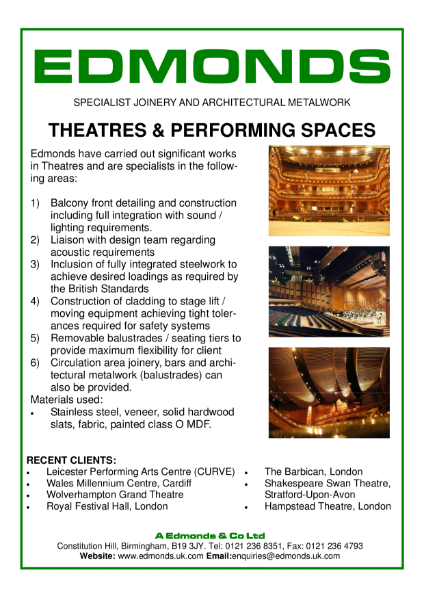 Edmonds Theatres, Specialist Joinery and Architectural Metalwork