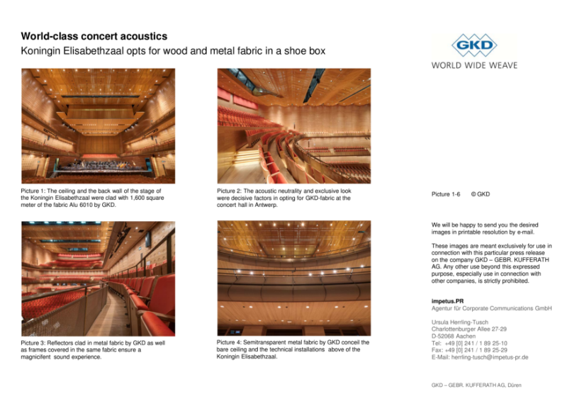 World-class concert acoustics: Koningin Elisabethzaal opts for wood and metal fabric in a shoe box