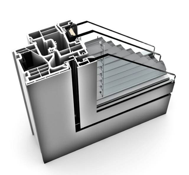KV 350 UPVC/ Aluminium Window With Integrated Blinds