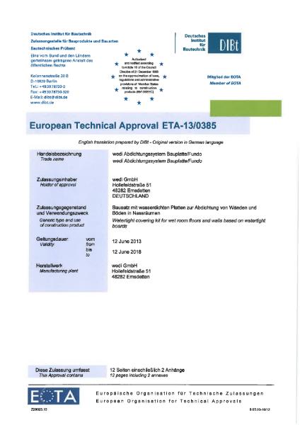 European Technical Approval ETA 13/0385