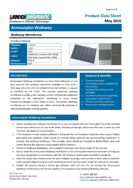 IKO Armourplan Walkway PVC Single Ply Roofing Membrane datasheet