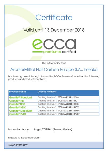 ECCA Premium - Certificate ArcelorMittal FCE Lesaka