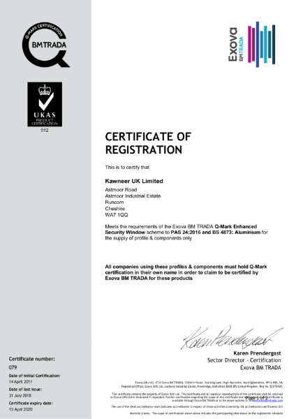 BM TRADA Q-Mark UK Certificate 079