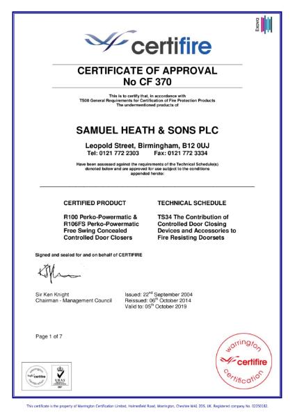Certifire certificate No CF 370 Powermatic R100 concealed door closer