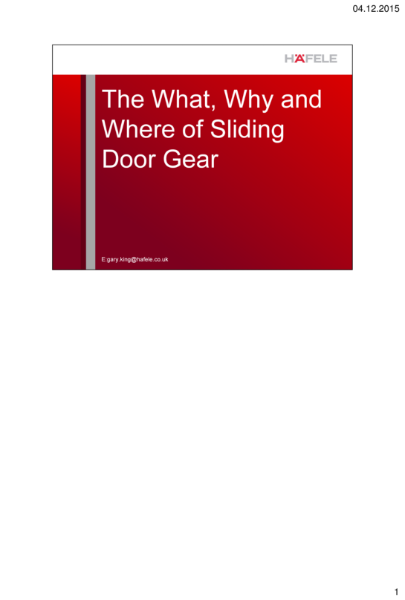 Seminar CPD -The What, Why and Where of Sliding Door Gear
