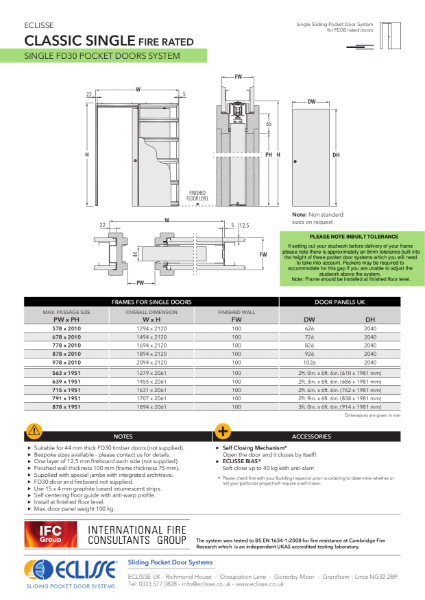 Classic SINGLE FIRE RATED Pocket Door System