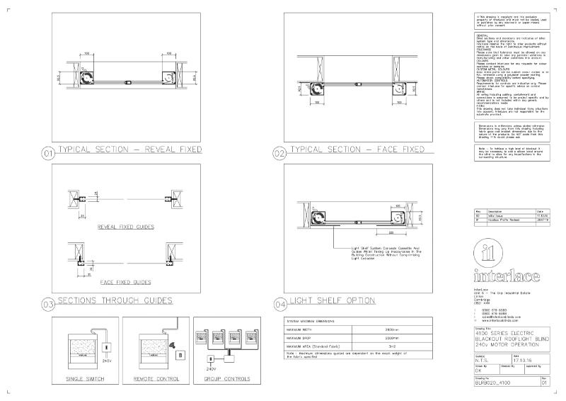 4100 Series Blackout Blind - Drawing Motorised Rooflight