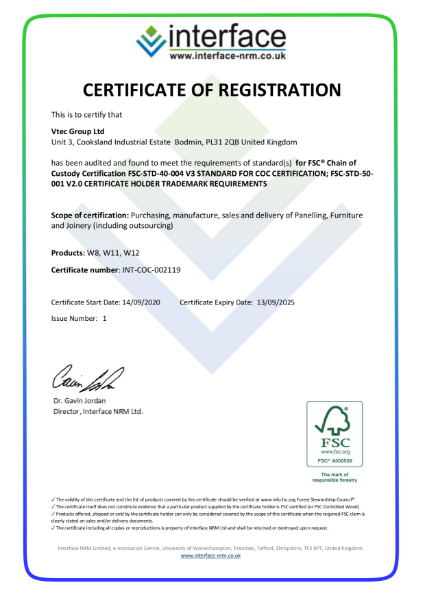 FSC Certificate - Vtec Group