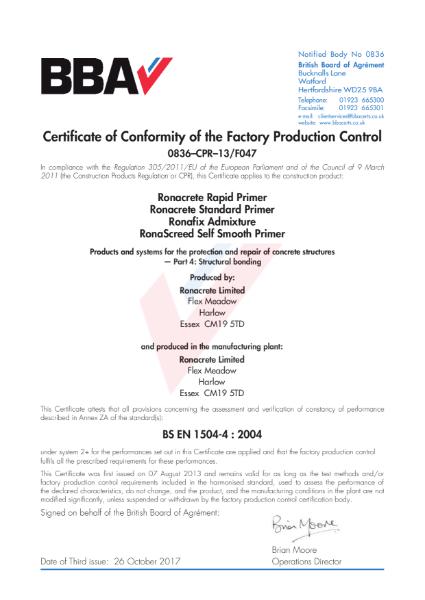 FPC Certificate (0836–CPR–13-F047 to BS EN 1504-4)