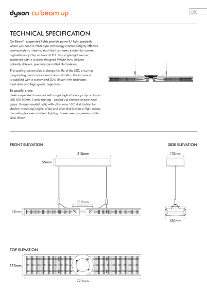 Dyson Lighting - Cu Beam Up suspended lighting Technical Specification