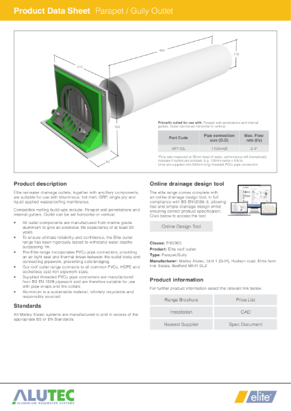 Marley Alutec Product Data Sheet Elite Parapet Gully Outlet AP110L