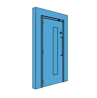 Single Metal Access Control Door with Vision Panel