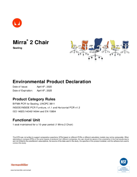 Mirra 2 Chair - Environmental Product Declaration