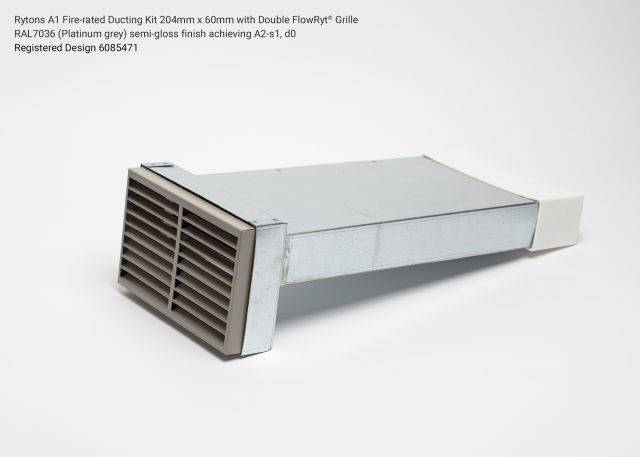 Rytons A1 Fire-rated Straight Ducting Kit 204mm x 60mm with Double Air Brick Grille