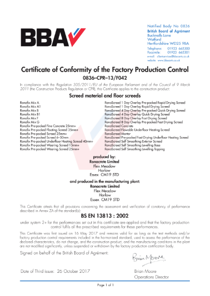 FPC Certificate (0836–CPR–13-F042 to BS EN 13813)