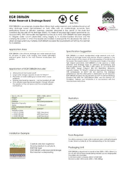 Eco Green Roofs DBR60N Datasheet
