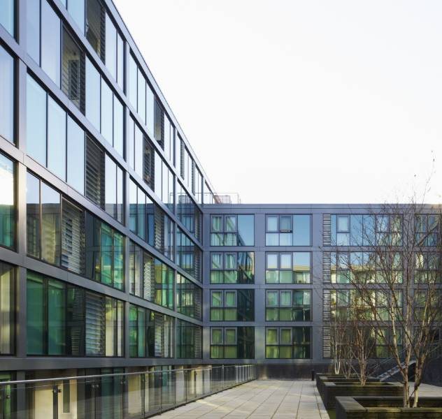 The façades of four buildings entirely replaced with WICONA curtain walling