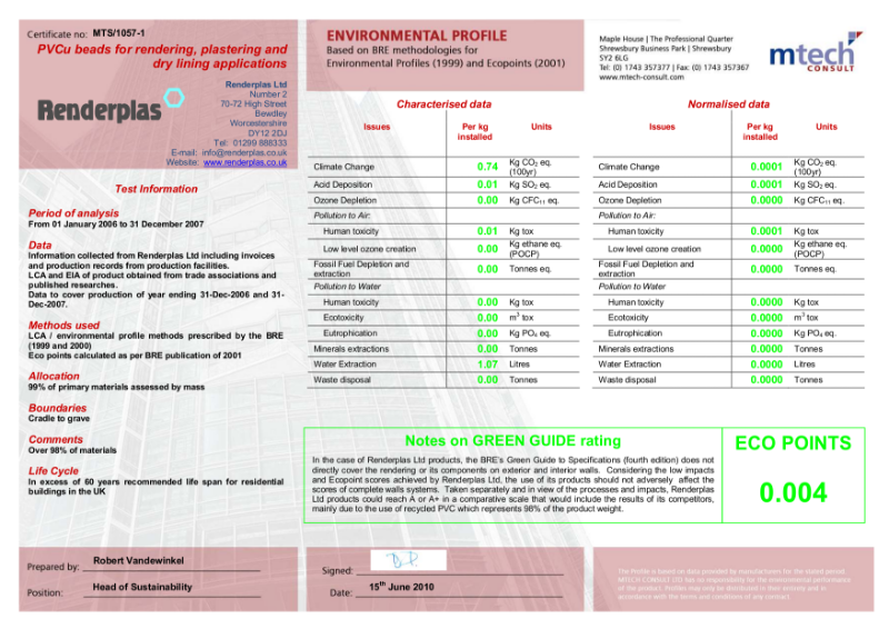Renderplas Bead Environmental Sustainability Certificate