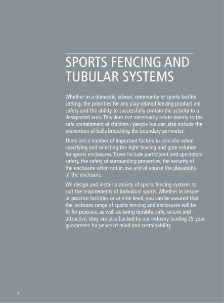 Sports Fencing and Tubular Systems Fencing