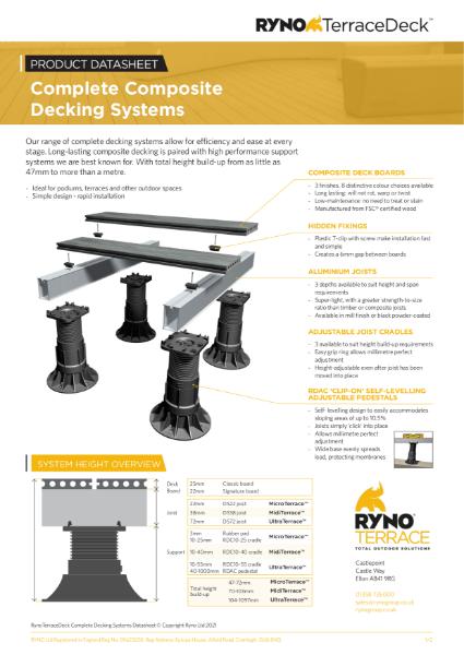 Datasheet - RynoTerraceDeck Complete Decking Systems