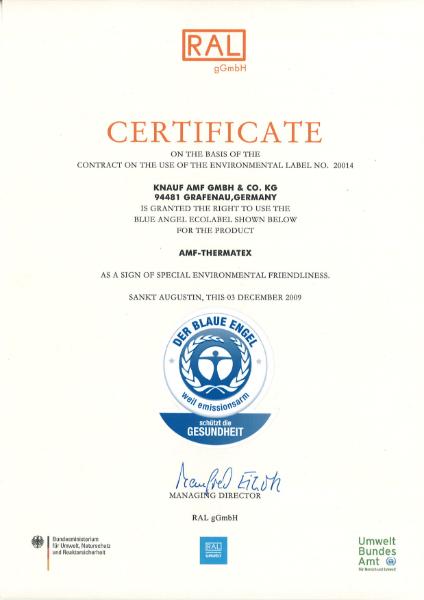 Blue Angel Thermatex Certificate