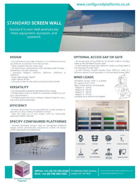 Standard Screen Wall Specification Data Sheet