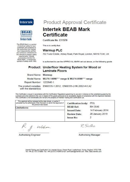 Intertek BEAB Mark Certificate (Underfloor Heating System for Wood or Laminate Floors)
