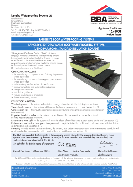 12/4959_6 Langley's 40 Total Warm Roof Waterproofing systems (using Parafoam Standard insulation boards)