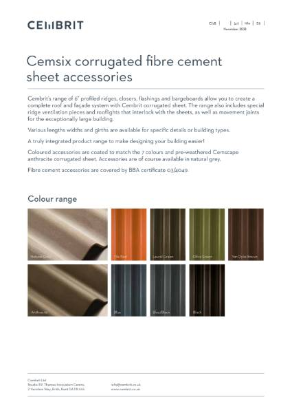 Cembrit Cemsix corrugated sheet accessories