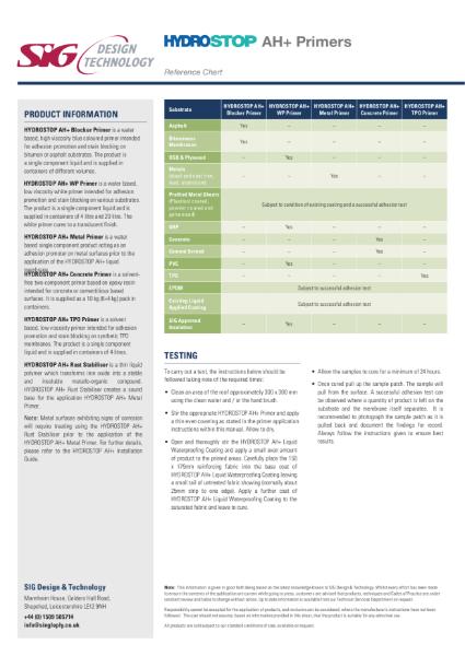 Hydrostop AH+ Liquid Waterproofing Primer Chart