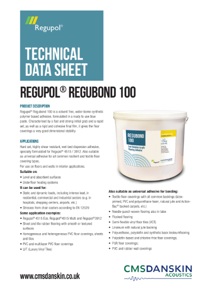 CMS Danskin Acoustics Regupol Regubond 100 TDS