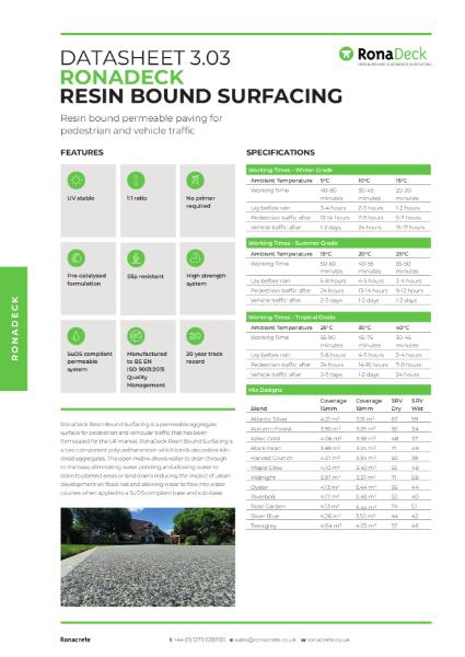 RonaDeck Resin Bound Surfacing Data Sheet