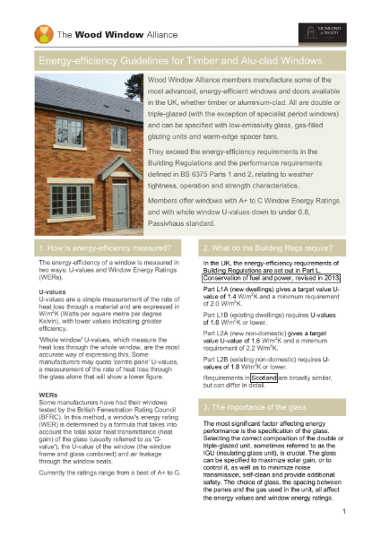 Energy-efficiency Guidelines for Timber Windows