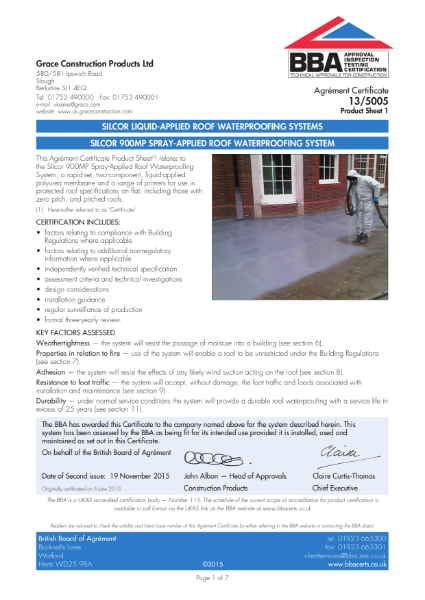 13/5005 SILCOR 900MP SPRAY-APPLIED ROOF WATERPROOFING SYSTEM