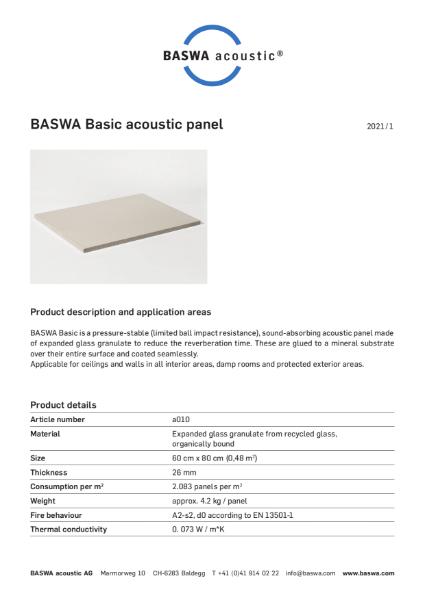 BASWA Basic panel datasheet