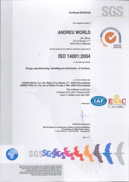 BS EN ISO 14001: 2004 Certificate