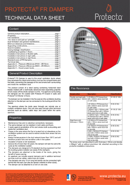 FR Damper - Technical Data Sheet