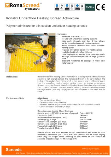 Ronafix Underfloor Heating Screed Admixture