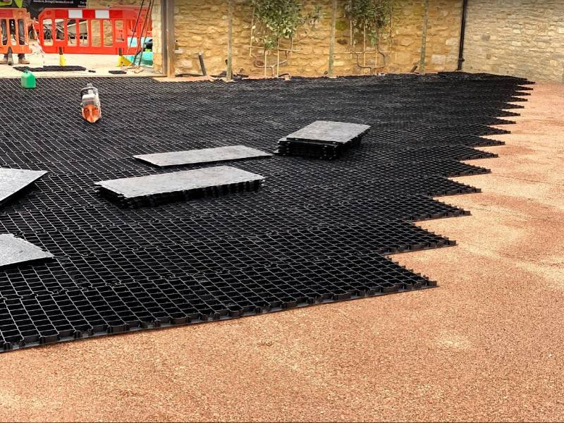 Car Park Installation Using CORE COMMERCIAL Gravel Stabiliser Grid System