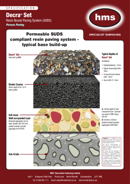 Resin bound surfacing specification